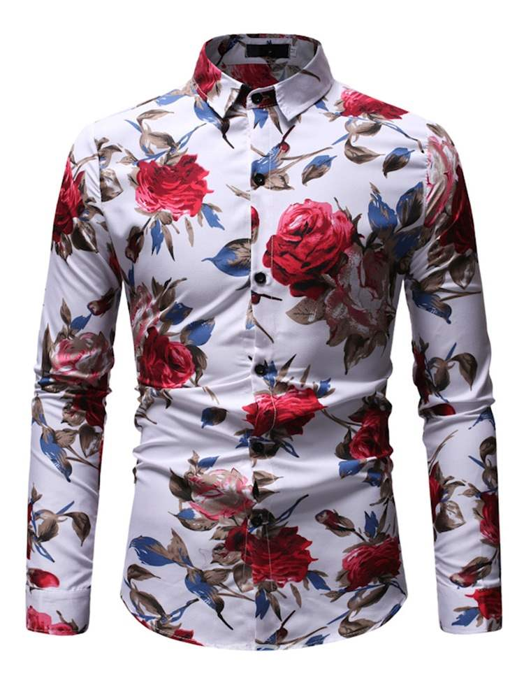Ericdress Floral Print Mens Casual Slim Shirts