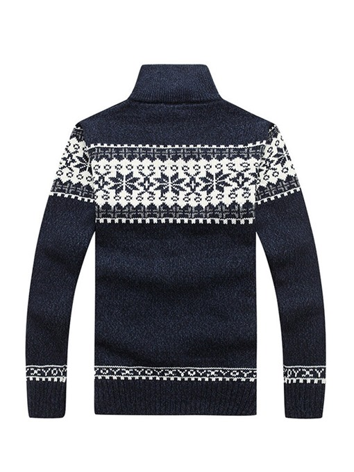 Ericdress Patchwork Stand Collar Color Block Straight Mens Sweater