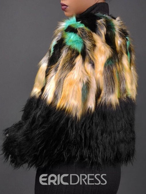 Ericdress Round Neck Regular Color Block Straight Thick Faux Fur Overcoat