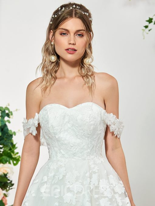 Ericdress Off the Shoulder Ball Gown Lace Wedding Dress 2019