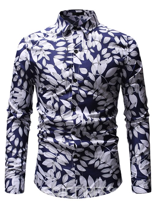 Ericdress Plant Printed Button Up Mens Casual Shirt