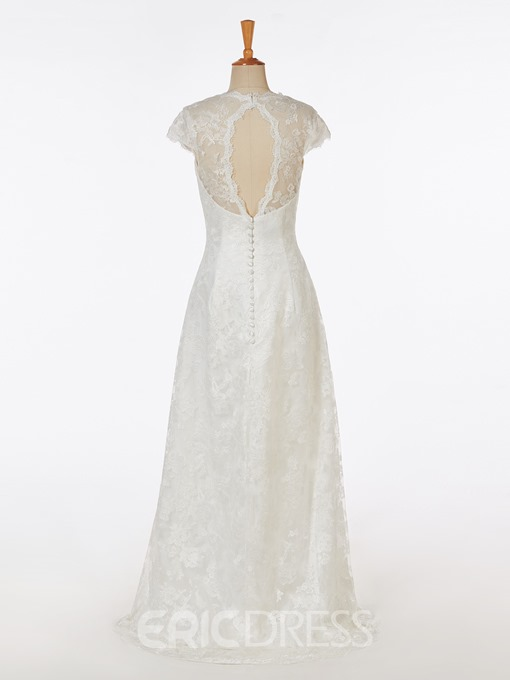 Ericdress Hi-Low Cap Sleeves Lace Beach Wedding Dress
