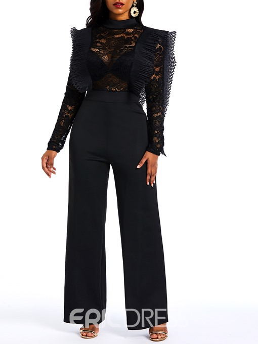 Ericdress Plain See-Through Lace Patchwork Slim Women's Jumpsuits