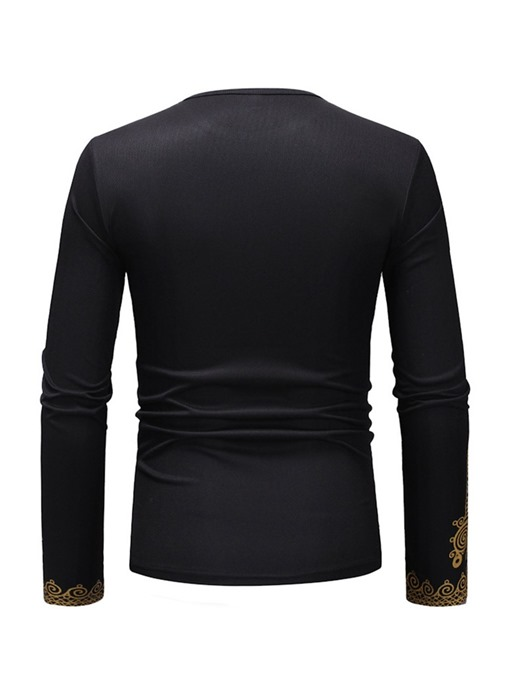 Ericdress African Dashiki Print Round Neck Long Sleeve Mens T-shirt