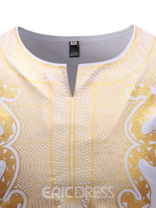 Ericdress African Dashiki Floral Print Long Sleeve Mens T-shirt