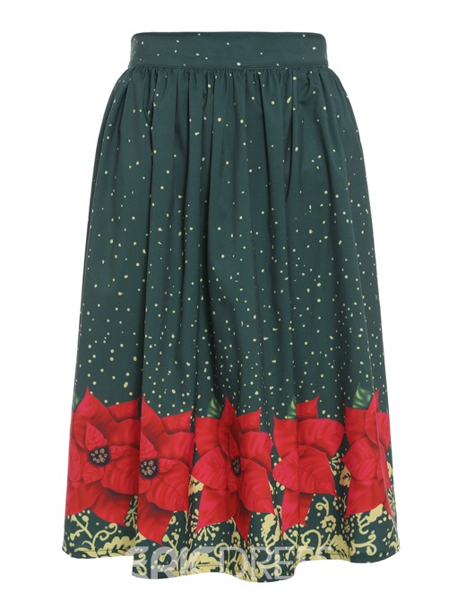 Ericdress Floral Knee-Length Pleated Print Elastic Waist Women's Skirt