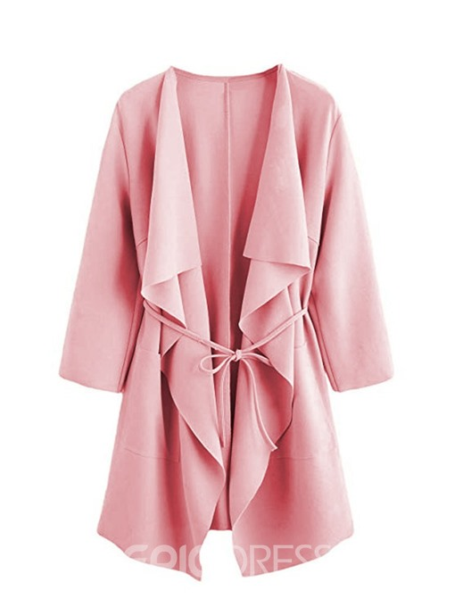Ericdress Lace-Up Lapel Mid-Length Loose Regular Trench Coat