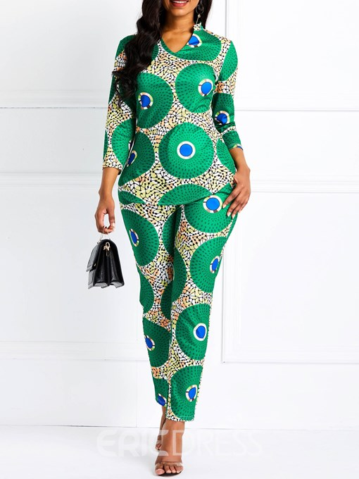 Ericdress Geometric Pattern African Fashion Skinny Shirt and Pants Women's Two Piece Sets