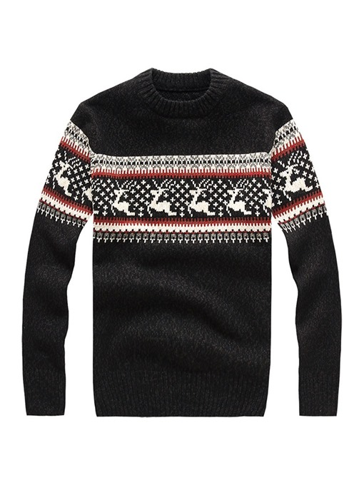 Ericdress Color Block Christmas Mens Casual Pullover Sweater