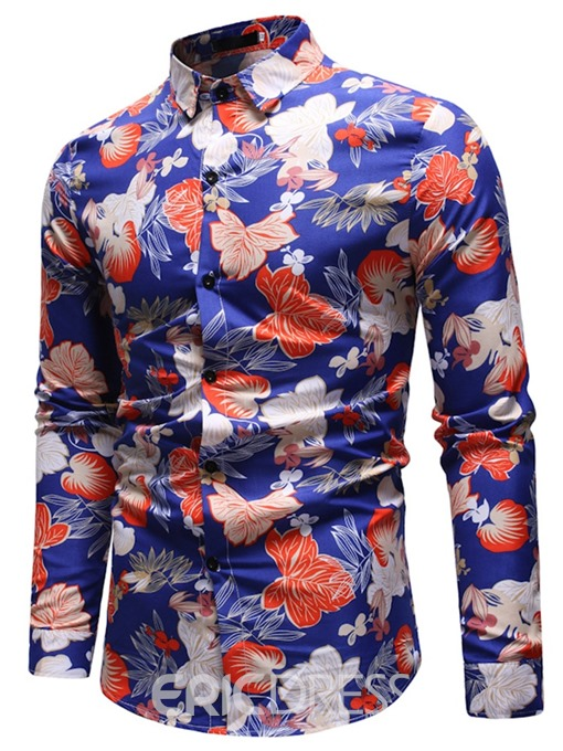 Ericdress Floral Print Button Up Mens Casual Party Shirts