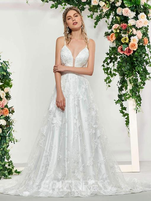 Ericdress Spaghetti Straps A-Line Lace Wedding Dress 2019