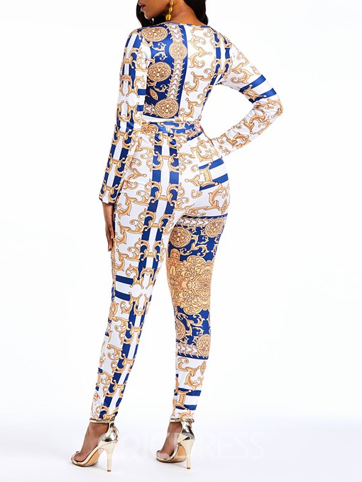 Ericdress Print Color Block Sexy V-Neck Slim Women's Jumpsuit