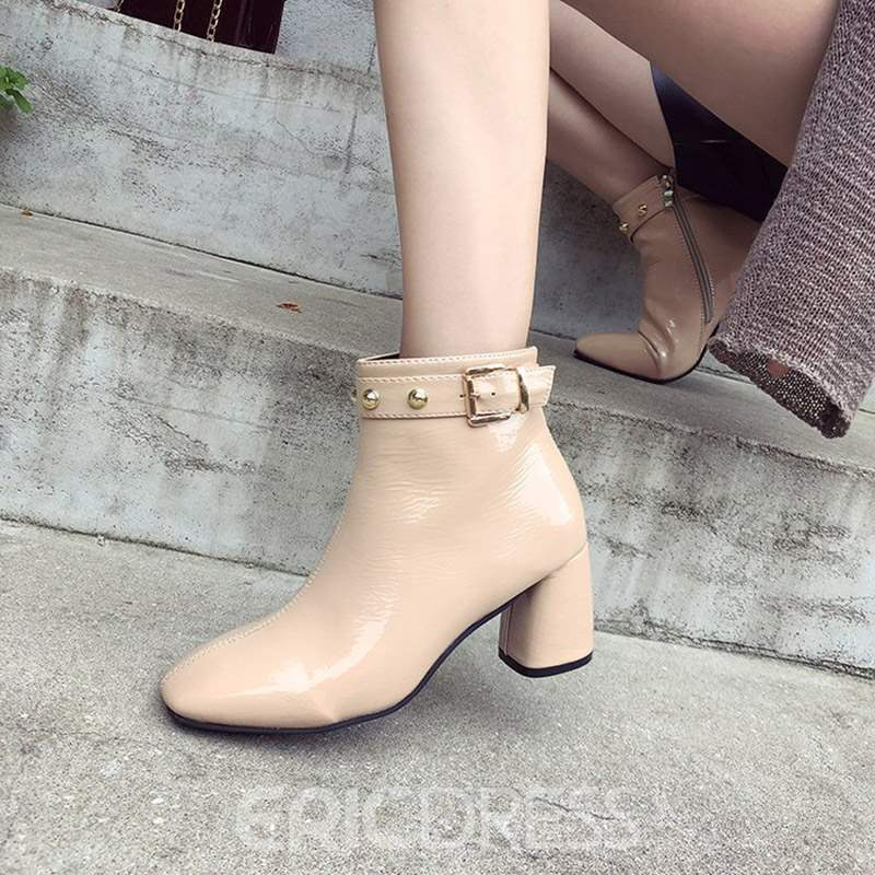 Ericdress Rivet Square Toe Plain Chunky Heel Women's Ankle Boots