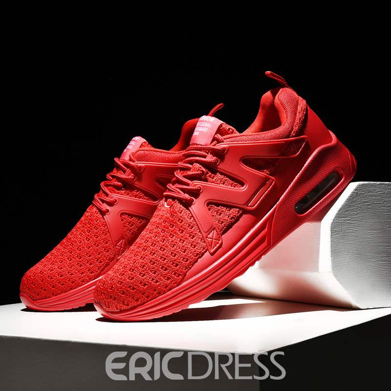 Ericdress Plain Mesh Lace-Up Round Toe Men's Sneakers