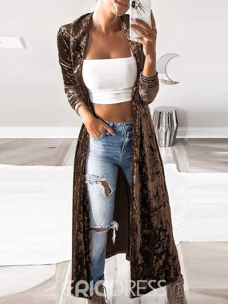Ericdress Wrapped Lapel Patchwork Regular Western Trench Coat
