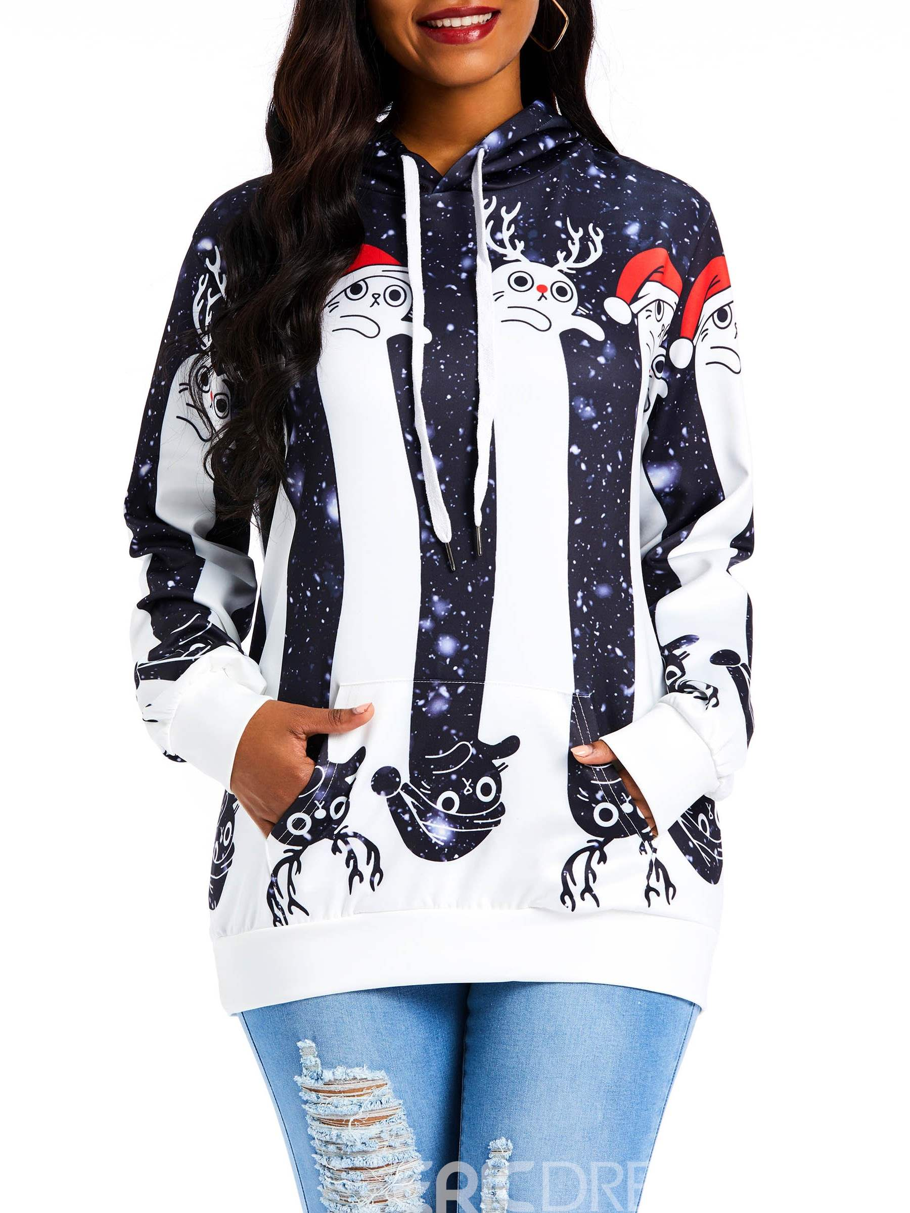 Ericdress Print Color Block Fall Hooded Hoodie