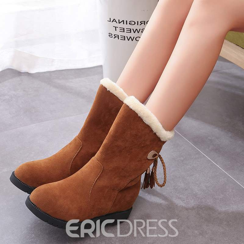 Ericdress Round Toe Plain Lace-Up Back Women's Snow Boots