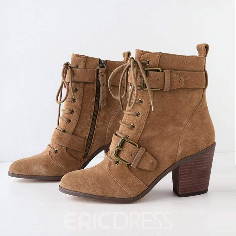 Ericdress Side Zipper Chunky Heel Pointed Toe Women's Ankle Boots