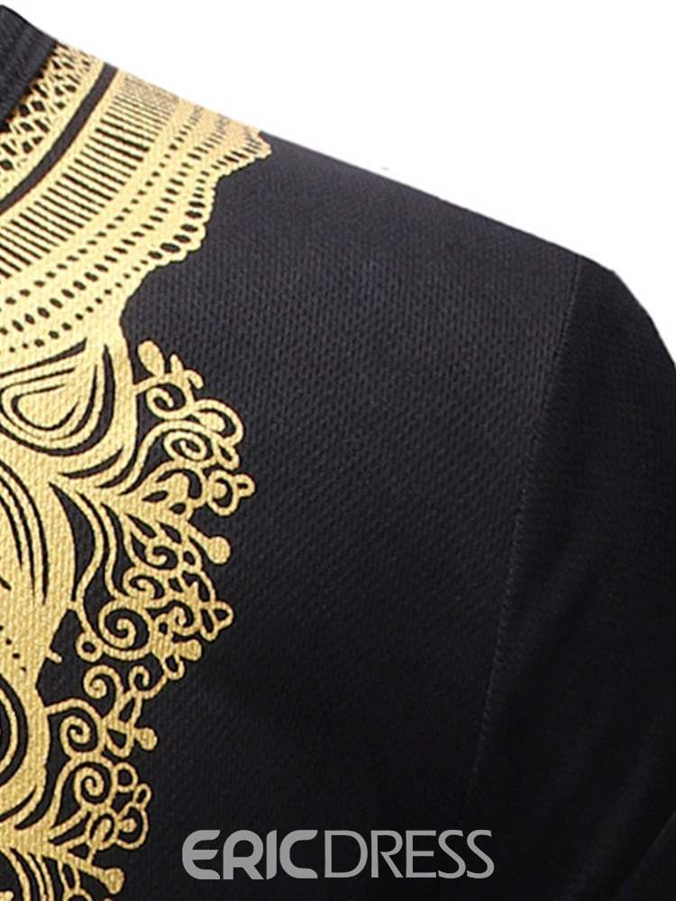 Ericdress Dashiki African Print Round Neck Mens T-shirt