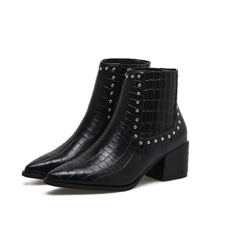 Ericdress Rivet Chunky Heel Pointed Toe Slip-On Women's Ankle Boots