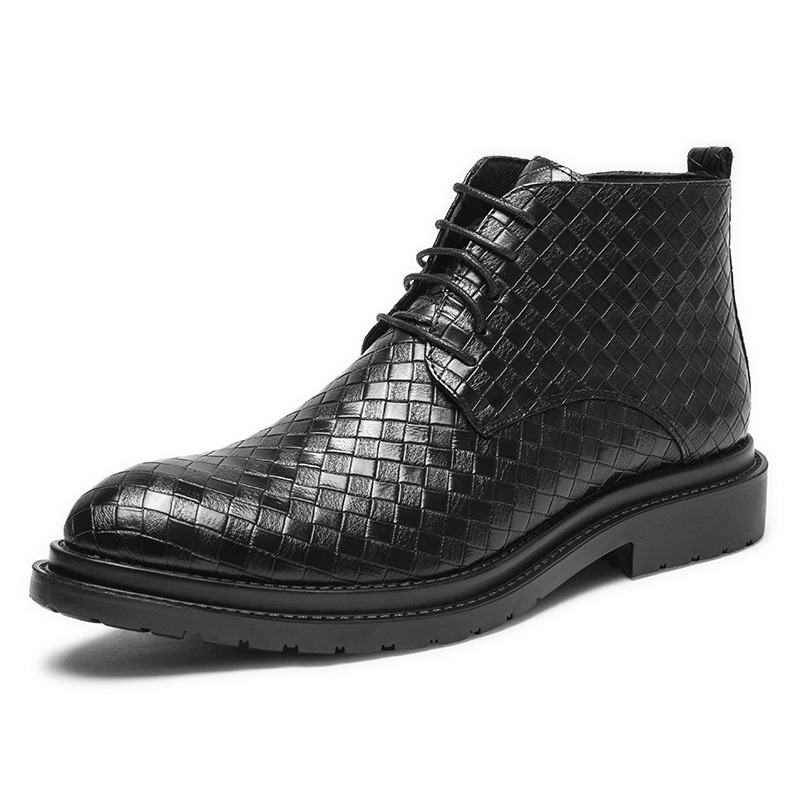 Ericdress Side Zipper Plaid Pointed Toe Men's Boots