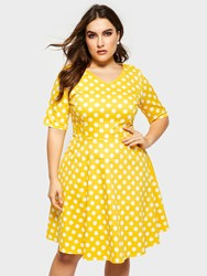 Ericdress Plus Size Knee-Length Polka Dots A-Line Womens Dress