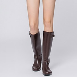 Ericdress PVC Plain Slip-On Block Heel Women's Hunter Boots