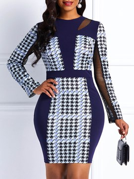 Ericdress Long Sleeves Mesh Office Lady Bodycon Dress