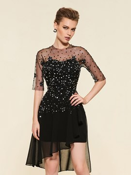 Ericdress Beading Half Sleeves Knee-Length Mother Of The Bride Dress