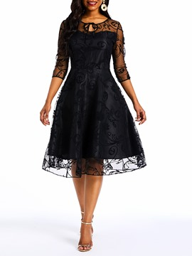 Ericdress Lace Mesh Knee-Length A-Line Patchwork Dress