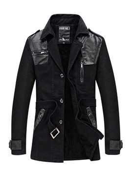 Ericdress Plain Patchwork Single-Breasted Mens Casual Jacket