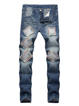 Ericdress Patchwork Mid-Waist Mens Casual Jeans