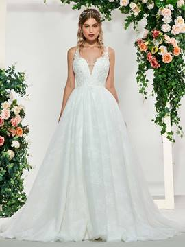 Ericdress A-Line Appliques Floor-Length Church Wedding Dress