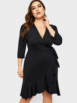 Ericdress Plus Size Rüsche Casual Kleid