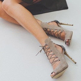 Ericdress Serpentine Zipper Stiletto Heel Casual Women's Sandals