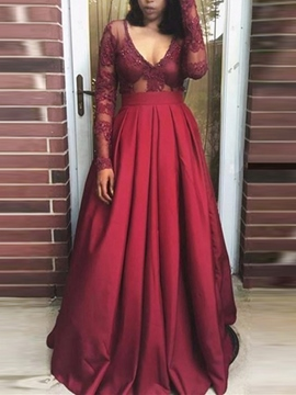 Ericdress Sexy A Line Long Sleeve Deep V Neck Prom Dress