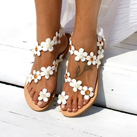 Ericdress Floral Toe Ring Slip-On Women's Flat Sandals