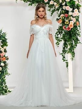 Ericdress Short Sleeves Off-The-Shoulder Wedding Dress 2019