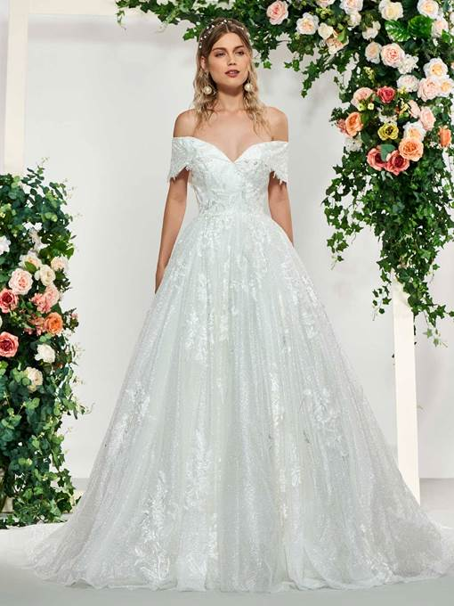 Ericdress Ball Gown Off-The-Shoulder Lace Wedding Dress