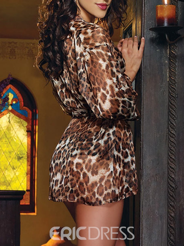 Ericdress Belt Leopard See Through Three-piece Suit
