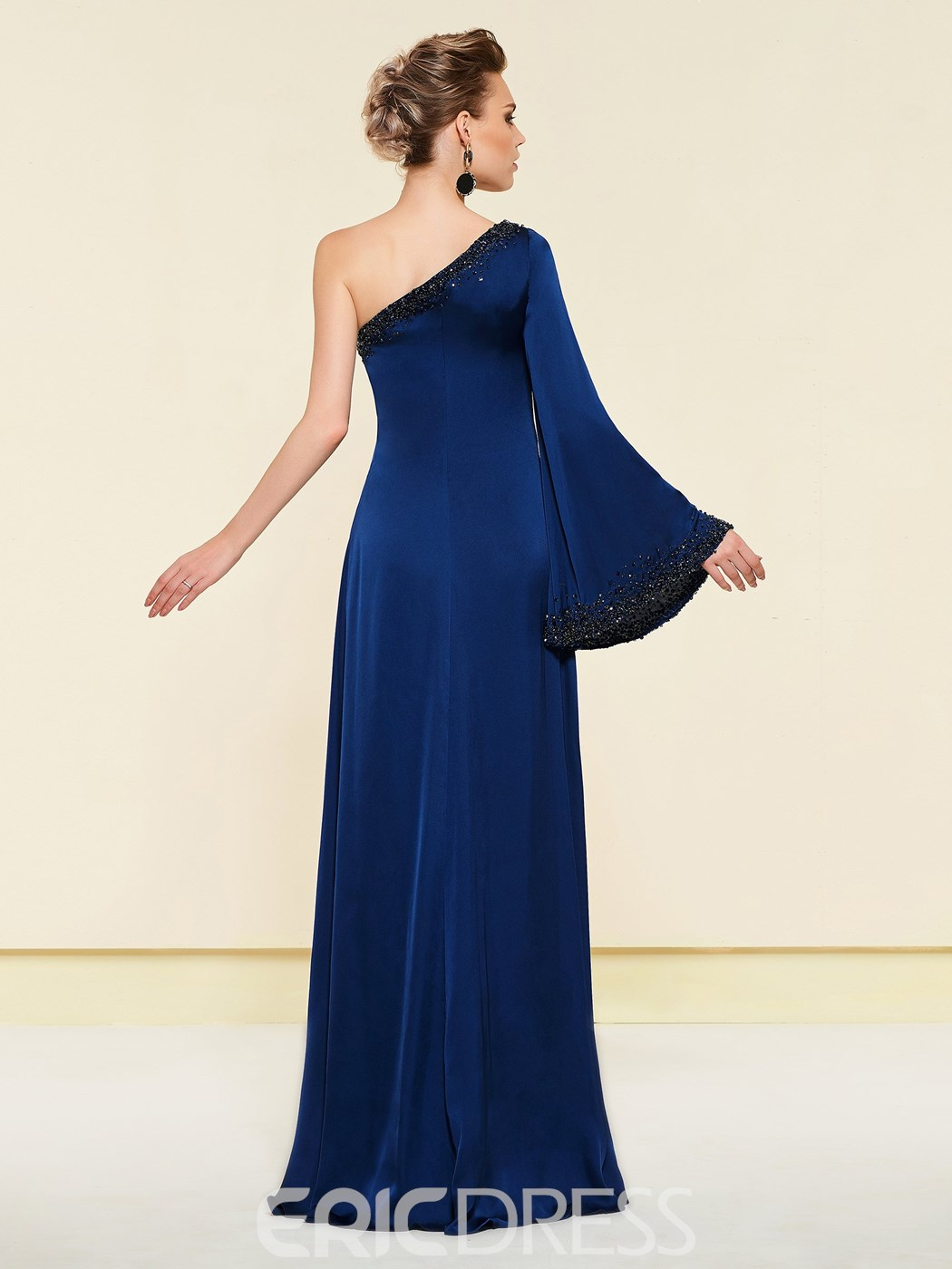 Ericdress One Shoulder Beading Long Sleeves Mother of the Bride Dress
