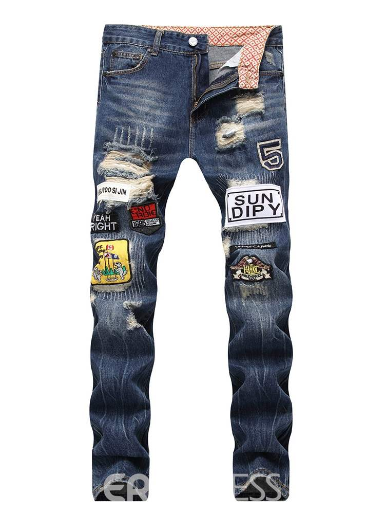 Ericdress Patchwork Appliques Straight Mid-Waist Mens Jeans