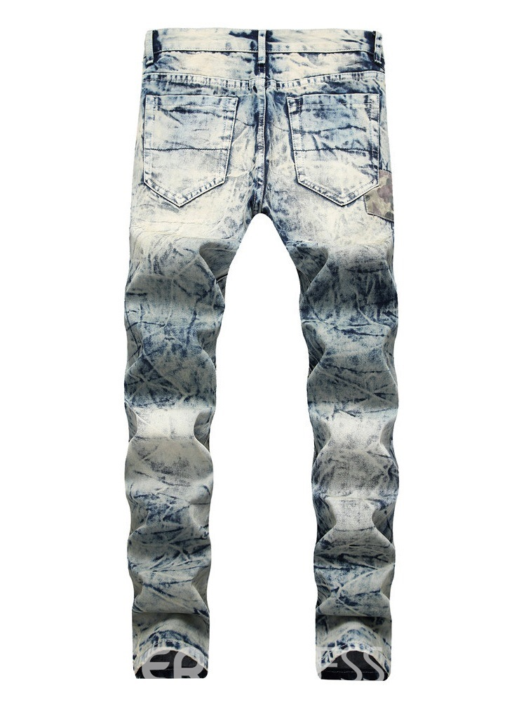 Ericdress Patchwork Straight Mid-Waist Mens Ripped Jeans