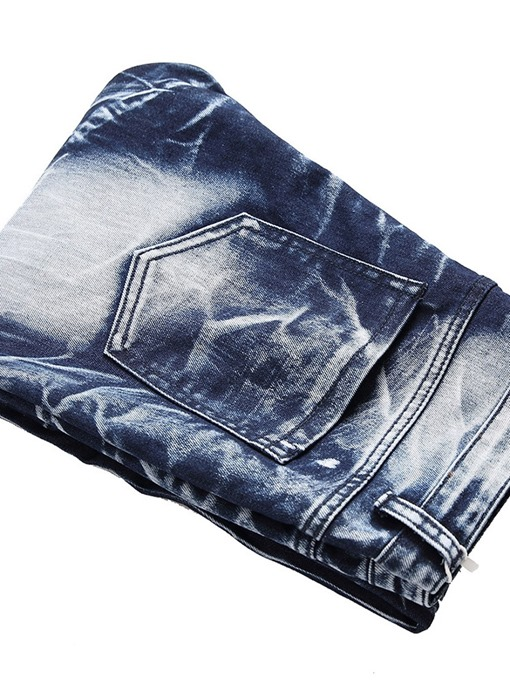 Ericdress Color Block Pleated Mid-Waist Mens Casual Jeans