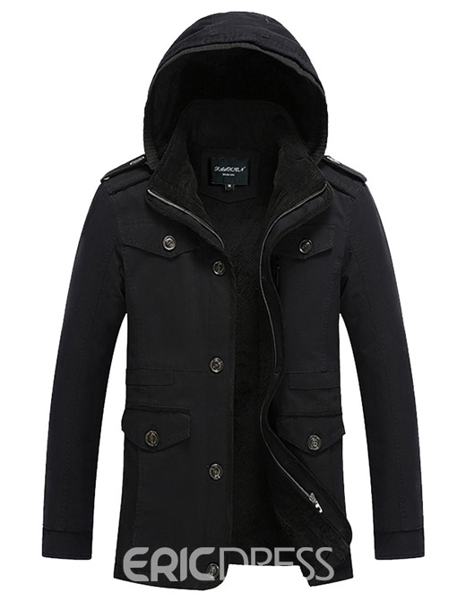Ericdress Plain Hooded Thick Pocket Mens Winter Casual Jacket