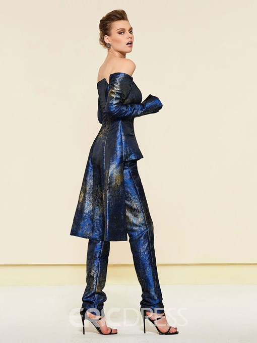 Ericdress Off-The-Shoulder Long Sleeves Print Pantsuits