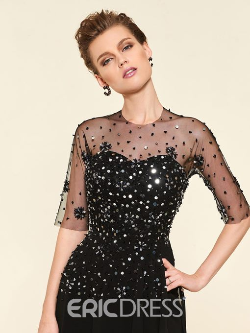 Ericdress Beading Half Sleeves Knee-Length Mother Of The Bride Dress 2019