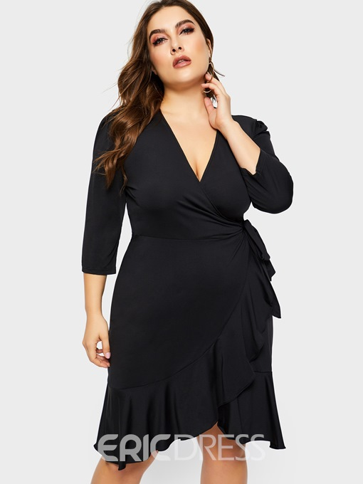 Ericdress Plus Size Ruffle Casual Dress