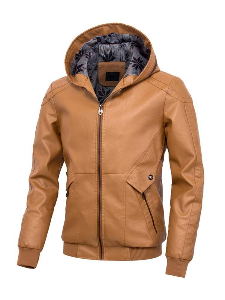 Ericdress Plain Hooded Mens Casual PU Jacket