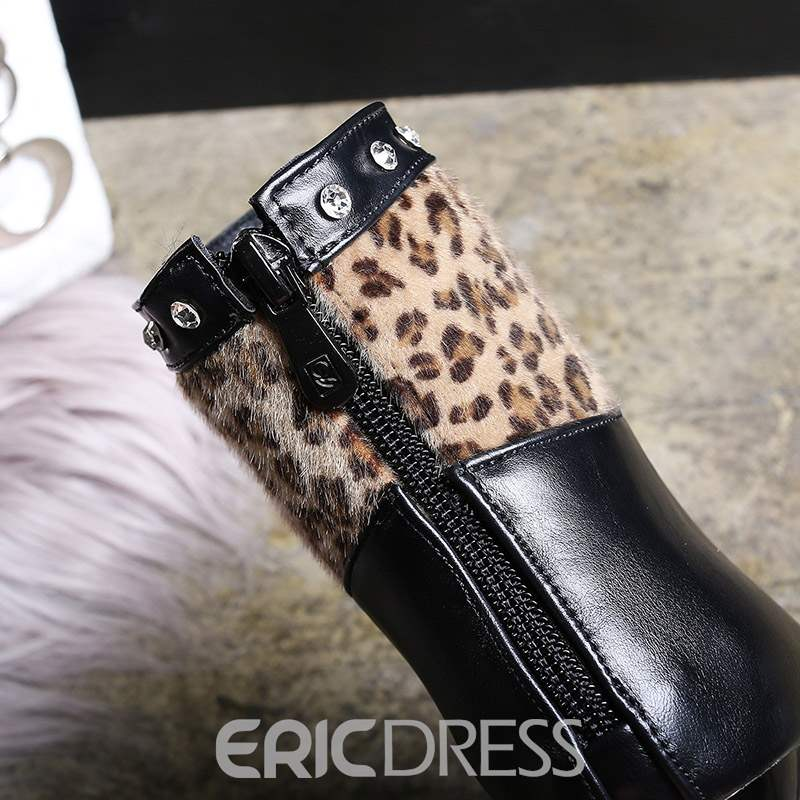 Ericdress Leopard Print Back Zip Stiletto Heel Women's Ankle Boots